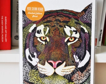 "SALE! Limited Edition Print ""Tiger"" A5 Animal Pattern Tiger Print Signed and Numbered Print"
