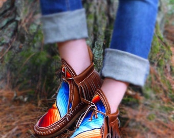 Hand Stitched Brown Leather Serape Moccasin Boots, Serape Moccasins, Womens Moccasins, Leather Moccasins, Leather Boots, Boho Womens Boots