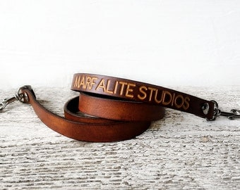Leather Camera Strap with Personalized Name or Company Name - DSLR / SLR Custom Text THIN Skinny - Photographer Gift - Personalized Initials