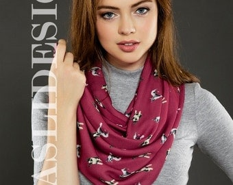 Claret Red Boston Terrier Dog Pattern Infinity Scarf Dog Scarf Circle Scarf Scarves, For Her Spring - Summer - Fall - Winter Scarf