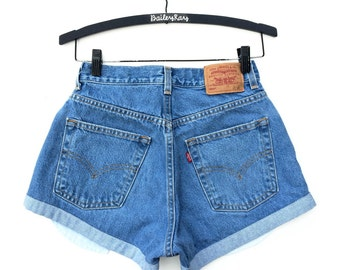 Levi's High Waisted Denim Jean Shorts  - Cheeky Distressed with Small Monogram - Sizes US 0 - 20