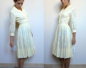 Vintage 50's-60's Topsey Original Elegant Casual Pale Yellow Dress (Modern Size 3/4)