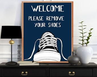 Welcome please remove your shoes, 11x14 or 8x10, Converse shoe, Sign pop art poster, Modern art, Print affordable home decor