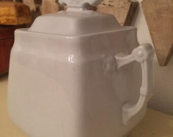 Antique White Ironstone Sugar Bowl