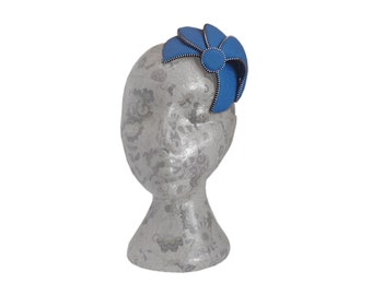Royal blue & Silver Fascinator - Zip and Felt