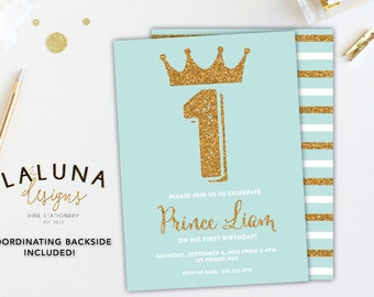 Prince Birthday Invitation, Boy Birthday Invitation, Blue & Gold Birthday, Little Prince Birthday Party, Little Prince Invitation