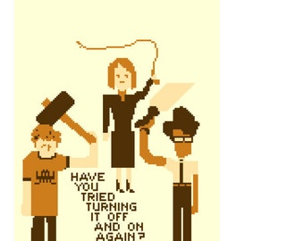 Cross stitch pattern - IT crowd turn it off and on again computers