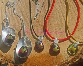 Dichroic maple leaf teardrop necklaces in fall colors