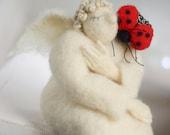 Needle Felt Angel - Valentine Doll - Dreamy Angel With A Ladybug- Needle Felted - Art Doll - Valentine Decoration - White Angel