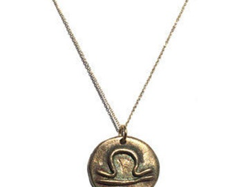 Zodiac Sign STATES OF LOVE handcrafted Bronze Necklace
