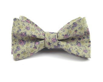 Green Bow Tie, Light Sage Green with Lilac Blush Floral Print, Groomsmen Wedding Bow Ties, Floral Bowtie - Traditional Self-Tie or Pre-Tied