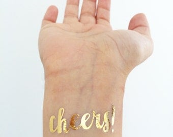 Cheers metallic gold temporary tattoos for Palm springs tattoo shops