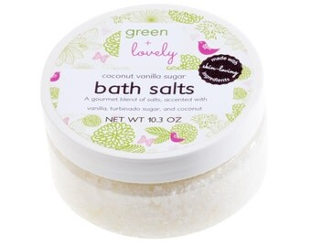 Coconut Vanilla Sugar Bath Salts. Bath Soak. Turbinado Sugar, Coconut Milk Powder, Premium European Salts. Organic Ingredients. Spa Gift.