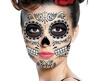 Sugar Skull Temporary Face Tattoo - Skull Face - Day of the Dead - Dia de los Muertos - Calavera - Halloween Costume