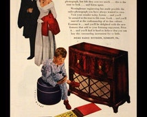 1947 Westinghouse Radio Ad - Large Wood Console - One Sixty Six Model - Wall Art - Home Decor - Retro Vintage Electronics Advertising