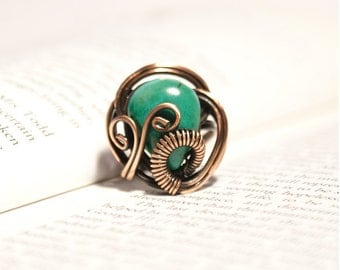 Turquoise ring, Gemstone ring, Wire wrapped jewelry handmade, Copper wire jewelry, Turquoise ring
