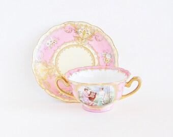 Antique Bouillon Cup Saucer Imperial Crown China AUSTRIA