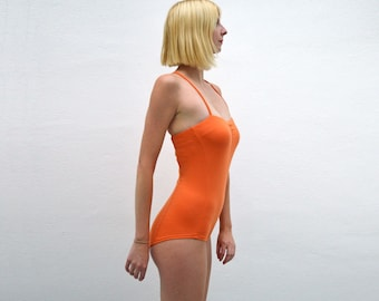 Una Vintage Style Strappy Jersey Orange Body Suit for Women. Fitted One Piece Leotard Top. Jersey Body Bandage Top for Festival Dress