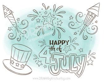 4th of July Set, Digital Stamp/ Art/ Image, 4th of July, Fireworks, Stars