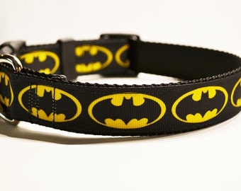 "Personalized Dog Collar - 1"" wide - Adjustable Dog Collars - Batman - Made to Order"