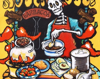 Father's Day Mexican Barbacoa Art Print. Day of the Dead Cook Wall Art. Gift for Dad Skeleton Trippy Barbeque Bones Nelson Art Grill Poster