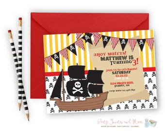 Pirate Birthday Invitation, Pirate Ship Birthday Invitation, Skull Birthday Invitation