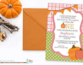 Fall Birthday Invitation, Pumpkin Birthday Invitation, First Birthday Invitation, 1st Birthday Invitation, Pumpkin Patch Birthday Invitation