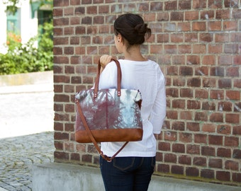 Large Hand Dyed Tote Bag / Vegan Leather / Cotton Fabric / Large Bag / Oversized Tote Bag / Summer Bag
