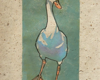 Goose linocut print