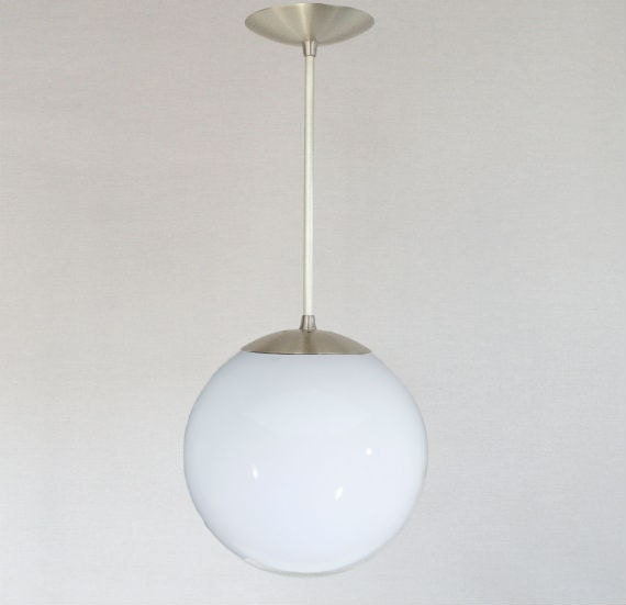 Mid century modern 10 globe pendant light white glass for Mid century modern globe pendant light
