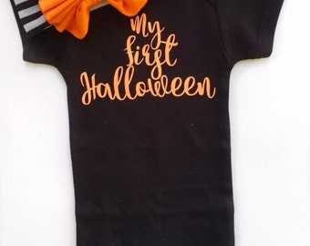 My First Halloween, Baby Girls Halloween Outfit, 1st Halloween Bodysuit, Girls Halloween, Halloween Headband, Girls Halloween Headband