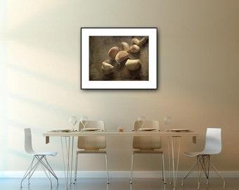 Kitchen art print, food fine art photography, garlic still life photo print, rustic kitchen wall decor, beige green brown fine art