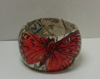 Handmade Decoupage Wood Bangle Bracelet-Monarch Butterfly