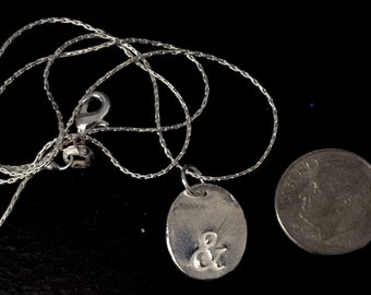 """Ampersand """"&"""" Punctuation Charm -- Pure Silver, Handcrafted, Debossed Pendant Necklace"""