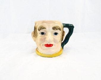 Vintage TOBY Style Character Face Mug Japan Vintage Old Fashioned Mug Vase Vintage Man Head Vase Bald Man with Red Lips Green Yellow