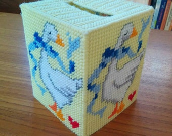 Vintage Goose Tissue Box Cover Plastic Canvas Yellow Yarn