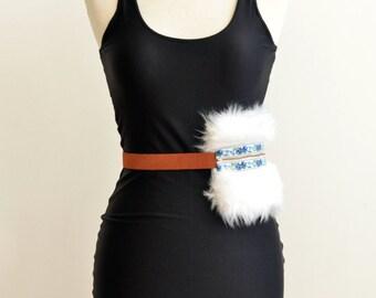 white faux fur hip bag - festival fanny pack
