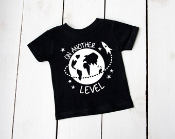 Infant Toddler ON ANOTHER LEVEL Shirt Outer Space Aliens Astronaut Super Hero Tshirt
