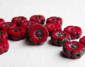 Crimson Tiny Blooms - 8mm vibrant crimson czech table cut flower beads, Picasso finish (6), czech glass beads, picasso finish