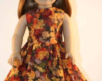 Fall Leaves Dress, American Made for Girl Doll Clothes, 18 inch Doll Clothes, American Doll Girl Dress, Thanksgiving Doll Clothes