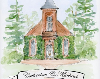 "Custom Wedding Venue Illustration (11 x 14"")"