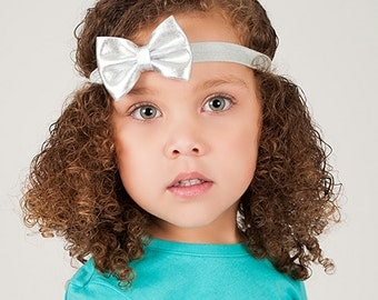 Silver Bow Headband, Silver Headband, Silver Bow, Silver Flower Girl Headband, Metallic Bow Headband, Newborn Photo Prop, Newborn Headband