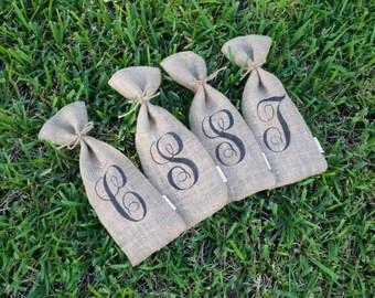 Custom monogrammed burlap wine bag tote