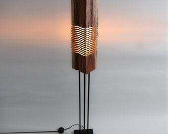 Modern Wood Art Light Sculpture