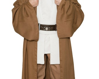 Star Wars Obi-Wan Kenobi Jedi Replica Costume Body Tunic with Replica Light Brown Jedi Robe