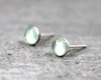 Aqua Chalcedony Stud Earrings