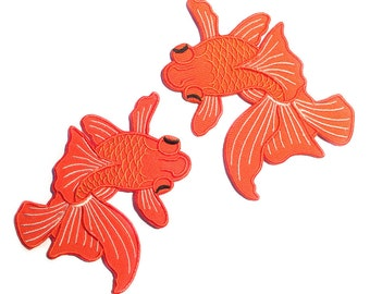 Japanese Koi (Pair) / Two Fish Tattoo / Iron-on Patches / Orange Koi Fish / Tattoo Appliqué / Embroidery / DIY Denim Jacket (KIT005)