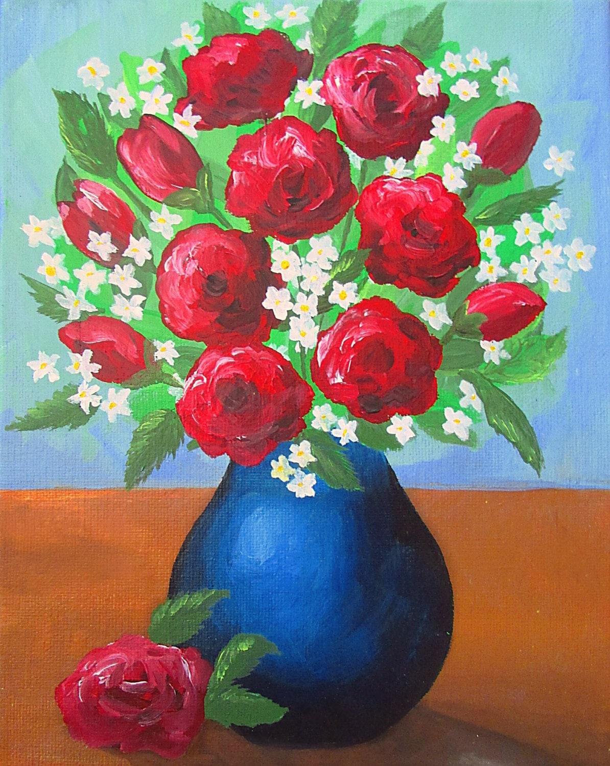 how to paint a vase with flowers acrylic painting