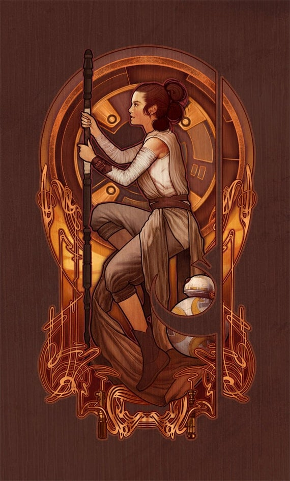 "Rey Nouveau - Star Wars: The Force Awakens - 4""x6"" Lustre Art Print"