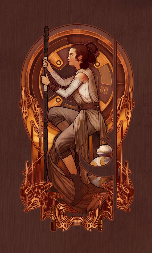 rey nouveau star wars the force awakens signed by meganlaraart. Black Bedroom Furniture Sets. Home Design Ideas